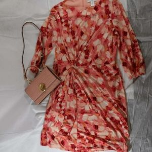 London Times Coral Pink Gathered Front Dress